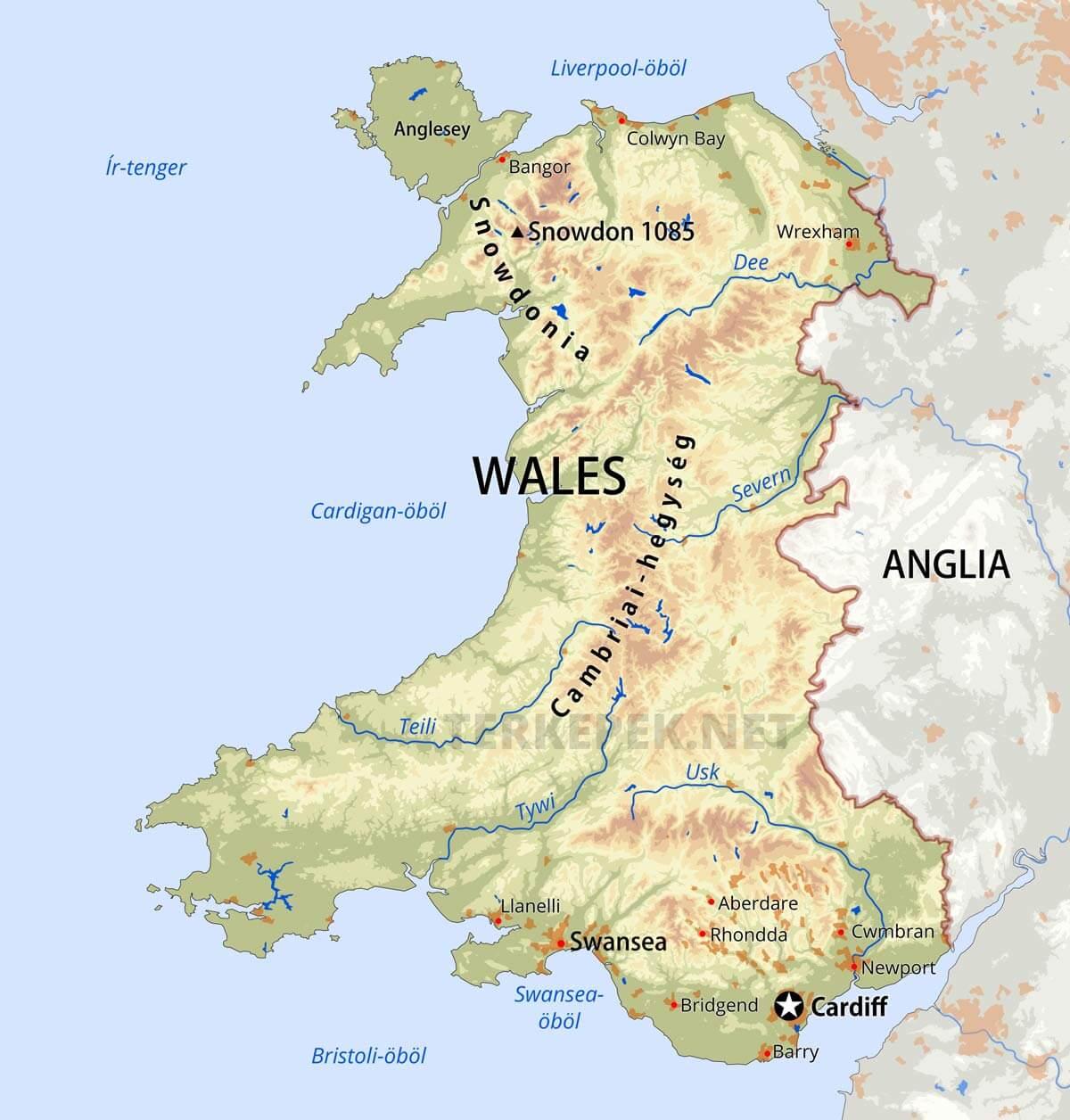 anglia városai térkép Wales domborzati térképe anglia városai térkép